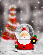Snow Globe Posters - Snow globe Santa Claus Christmas tree decoration  Poster by Anna Omelchenko