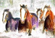 Herd Of Horses Prints - Snow Horses Print by Frances Marino