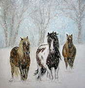 Indian Pastels Posters - Snow Horses Poster by Teresa Vecere