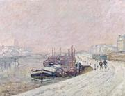 Barges Posters - Snow in Rouen Poster by Jean Baptiste Armand Guillaumin