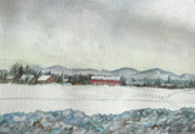 New England Snow Scene Painting Posters - Snow in the Berkshires Poster by Judy Riggenbach