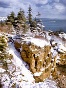 National Parks Paintings - Snow in the Park Acadia Maine by Elaine Plesser