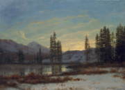 Mountainous Paintings - Snow in the Rockies by Albert Bierstadt
