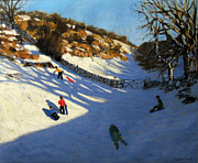 Farm Fields Paintings - Snow in the valley by Andrew Macara