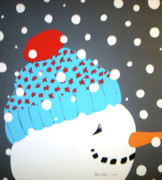 Snow Scene Mixed Media Prints - Snow Kid Print by Paula Weber