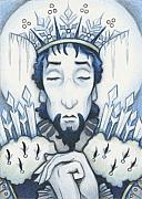 Arctic Drawings Metal Prints - Snow King Slumbers Metal Print by Amy S Turner
