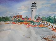 Cape Cod Lighthouse Paintings - Snow Light at Cape Cod by Warren Thompson