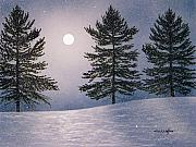 Snowscape Painting Metal Prints - Snow Light Metal Print by Frank Wilson