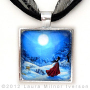 Landscapes Jewelry Originals - Snow Like Stars Handmade Pendant by Laura Iverson