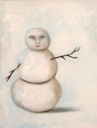 Snow Man Posters - Snow Man Poster by Leah Saulnier The Painting Maniac