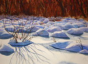 Drifting Snow Painting Prints - Snow Mounds Print by Daydre Hamilton