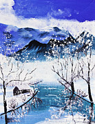 Mongkol Chakritthakool Prints - Snow Mountain And River Poster Color Print by Mongkol Chakritthakool