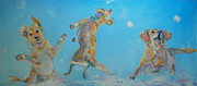 Leaping Painting Framed Prints - Snow Much Fun Framed Print by Kimberly Santini