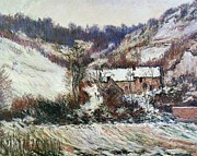 Snowfall Paintings - Snow near Falaise by Claude Monet
