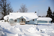 Cleanup Prints - Snow On A House Print by Ted Kinsman