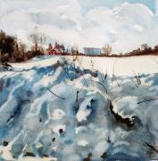 Elizabeth Carr Prints - Snow on Southwick Print by Elizabeth Carr