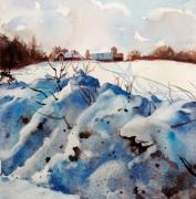 Elizabeth Carr Painting Prints - Snow on Southwick I Print by Elizabeth Carr