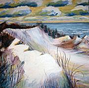 Sand Dunes Paintings - Snow on the Dunes by Art Nomad Sandra  Hansen