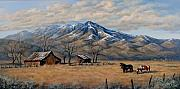 Old Barns Painting Prints - Snow on the Mountain Print by Alice Taylor