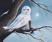 Snow Tree Prints Painting Prints - Snow Owl Print by Shawna Erback As Day Fades Into Night Print by Shawna Erback