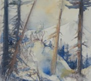 North Cascades Painting Posters - Snow Patterns Study 1  Poster by Sukey Jacobsen