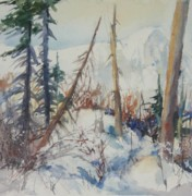 North Cascades Painting Posters - Snow Patterns Study 2 Poster by Sukey Jacobsen