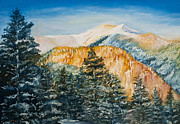 Mountains Pastels Prints - Snow Peak in Taos Print by Lisa  Spencer