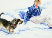 Snow Dog Framed Prints - Snow Play Sadie and Andrew Framed Print by Carolyn Coffey Wallace