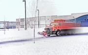 Snowstorm Digital Art Posters - Snow Plow in Business Park 1 Poster by Steve Ohlsen