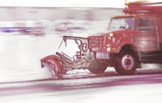 Winter Roads Digital Art Posters - Snow Plow in Business Park 2 Poster by Steve Ohlsen