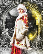 Hidden Digital Art Prints - Snow Queen Print by Mo T