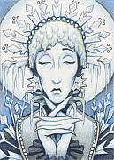 Arctic Drawings Posters - Snow Queen Slumbers Poster by Amy S Turner