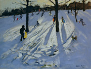 Sledding Framed Prints - Snow Rykneld Park Derby Framed Print by Andrew Macara