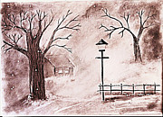 Oil Lamp Drawings Prints - Snow Print by Sanjay Avasarala