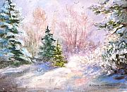 Snow Scene Mixed Media Originals - Snow Scene by Barbara Couse Wilson
