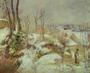 Rooftops Paintings - Snow Scene by Camille Pissarro