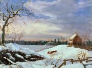 Snow Scene Paintings - Snow scene in New England by American School