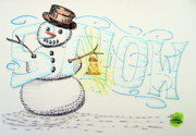 Coal Mixed Media Prints - Snow Print by Scott Lightfoot