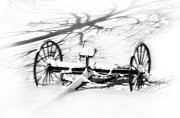 Old Farm Equipment Prints - Snow Shadows Print by Kathy Jennings