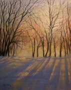 Winter Scene Painting Originals - Snow Shadows by Tom Shropshire