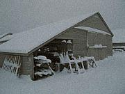 Barn Yard Mixed Media Prints - Snow Shed Print by Paul Barlo