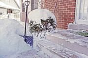 Front Porch Digital Art Posters - Snow Shovel in Snow 1 Poster by Steve Ohlsen