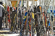 Susan Leggett Framed Prints - Snow Skis at Resort Framed Print by Susan Leggett
