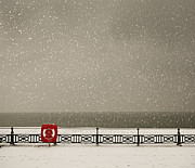 Hove Framed Prints - Snow Srorm By The Sea With Red Lifeguard Ring Framed Print by Andre Lichtenberg