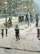 Oil Lamp Framed Prints - Snow Storm on Fifth Avenue Framed Print by Childe Hassam