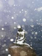 Little Mermaid Art - Snow Storm On The Little Mermaid Statue by Keenpress