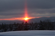 Snow Scence Prints - Snow Sunset Print by Brenda Doucette