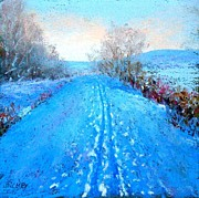Winter-landscape Pastels - Snow Tracks along the Towpath by Bob Richey