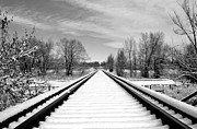 Train Tracks Photo Originals - Snow Tracks by James Steele