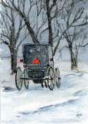 Amish Buggy Paintings - Snow Travel Amish Way by Mary Mapes